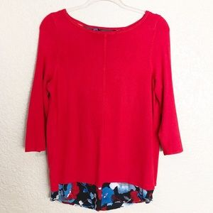 EUC The Limited red floral splits back sweater